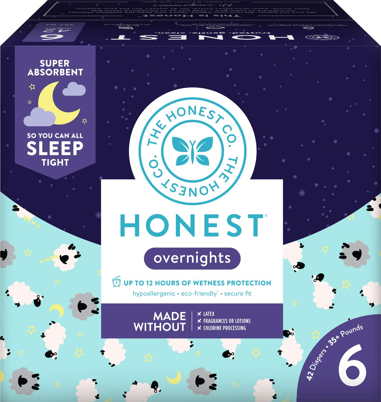 The Honest Company Overnight Sleepy Sheep Diapers | Sustainably Harvested and Plant-Derived Materials | Hypoallergenic | Size 6 (42 Count) by The Honest Company