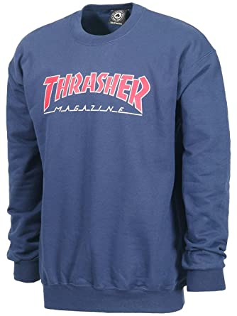 THRASHER - Felpa Uomo Outlined - Navy Blue - Small