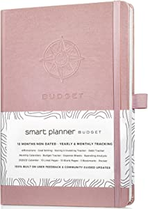 Smart Planner Budget Book – Budget Planner 2020 with Calendars, Debt Tracker, Expense Sheets, Savings Trackers and More – Inner Pocket for Receipts – Non-Dated Organizer (Rose Gold)