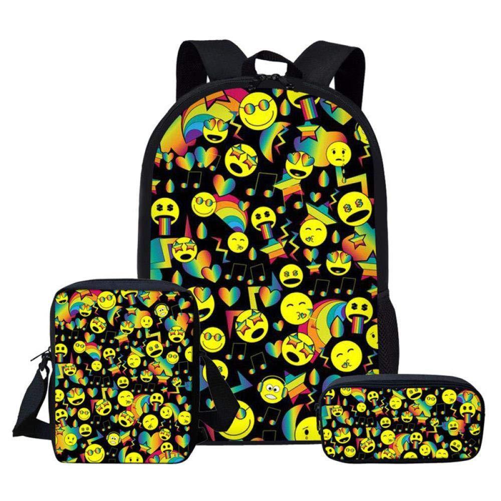 L5361CEK  QMM Sac d'école Sac à dos Sacs à Dos Mignon Emoji émoticône épaule Enfants School sac Set Femmes Sac à Dos voituretable Sac à Dos pour Les Adolescents