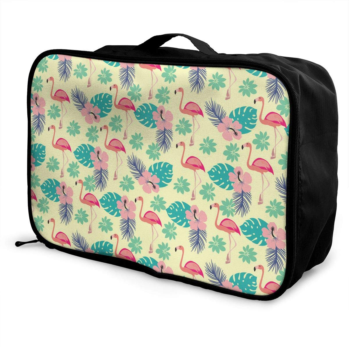 ADGAI Pattern with Flamingo and Palm Leaves Exotic Canvas Travel Weekender Bag,Fashion Custom Lightweight Large Capacity Portable Luggage Bag,Suitcase Trolley Bag