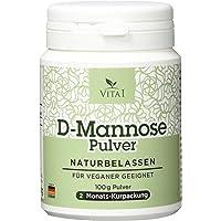 Vita 1 D Mannose Pulver, diätische Behandlung gegen Blasenentzündung und Harnwegsinfektionen 100g Inhalt, 2 Monate Vorrat, 100% Vegan, rein, Naturbelassen, Made in Germany