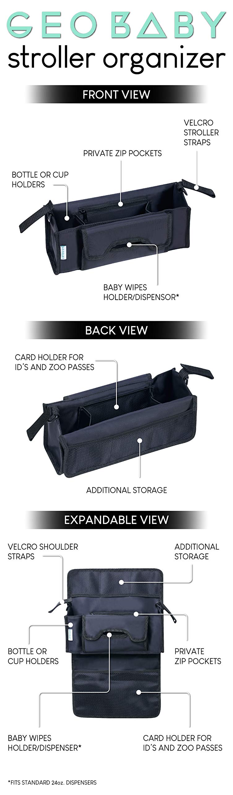GeoBaby Modern and Universal Extra Storage Stroller Organizer With Cup Holders, Diaper Compartments, Wipes Dispenser, Phone Pockets, Baby Shower Idea by GeoBaby (Image #6)