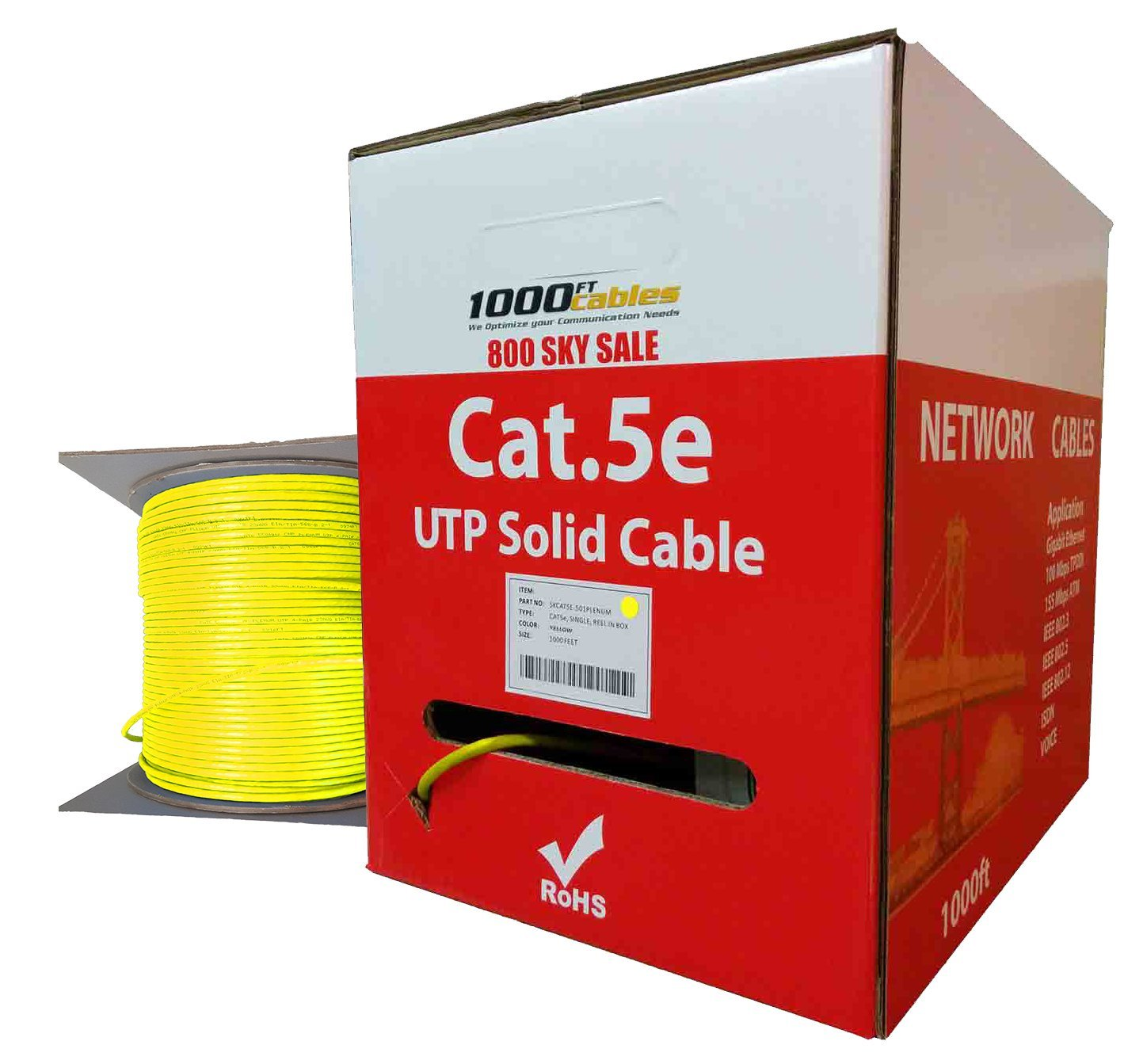 CAT5e Plenum 1000FT UTP Bulk Ethernet 350MHz Networking Cable Yellow