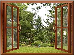 "wall26 Beautiful Garden/Backyard View from Inside a Window Removable Wall Sticker/Wall Mural - 36""x48"""