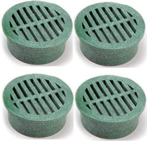 NDS 13 Plastic Round Grate, 4-Inch, Green, 4 PACK