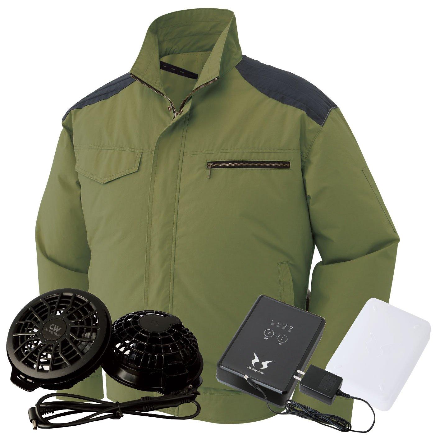 サンエス(SUN-S) 空調風神服 (空調服+ファンRD9820R+バッテリーRD9870J) ss-ku93500-l B07BTRVJLT 5L|ディープグリーン/黒ファン ディープグリーン/黒ファン 5L