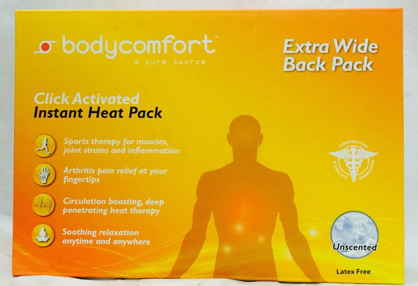 Bodycomfort Click Activated Instant Heat Pack-Extra Wide Back Pack