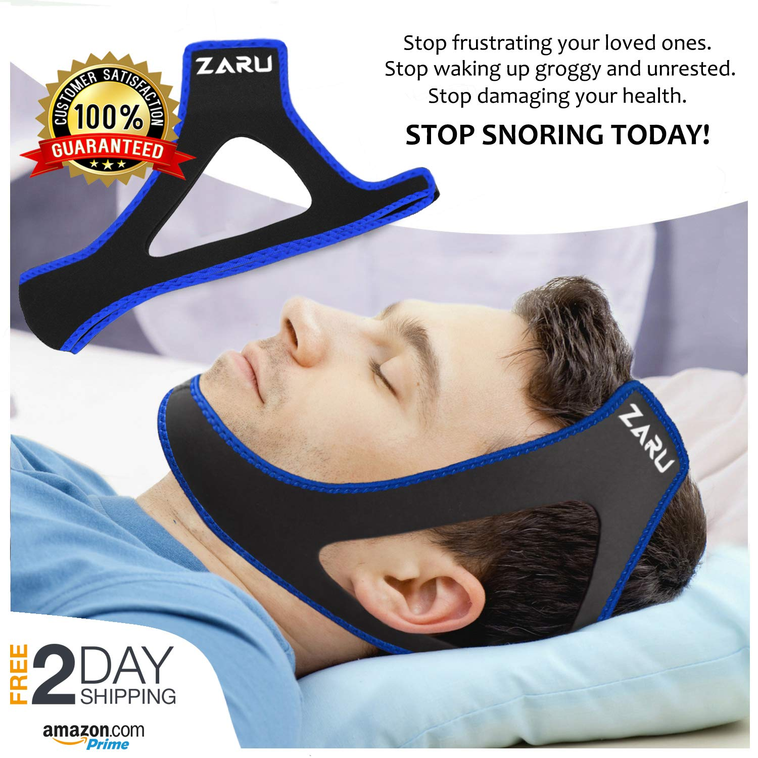 Premium Anti Snore Chin Strap [2019 Upgraded Version] - Advanced Snoring Solution Scientifically Designed to Stop Snoring Naturally and Give You The Best Sleep of Your Life (black.) by ZARU
