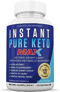 Instant Pure Keto Pills Max 1200MG Keto Pills Advanced BHB Ketogenic Supplement Exogenous Ketones Ketosis for Men Women 60 Capsules 1 Bottle
