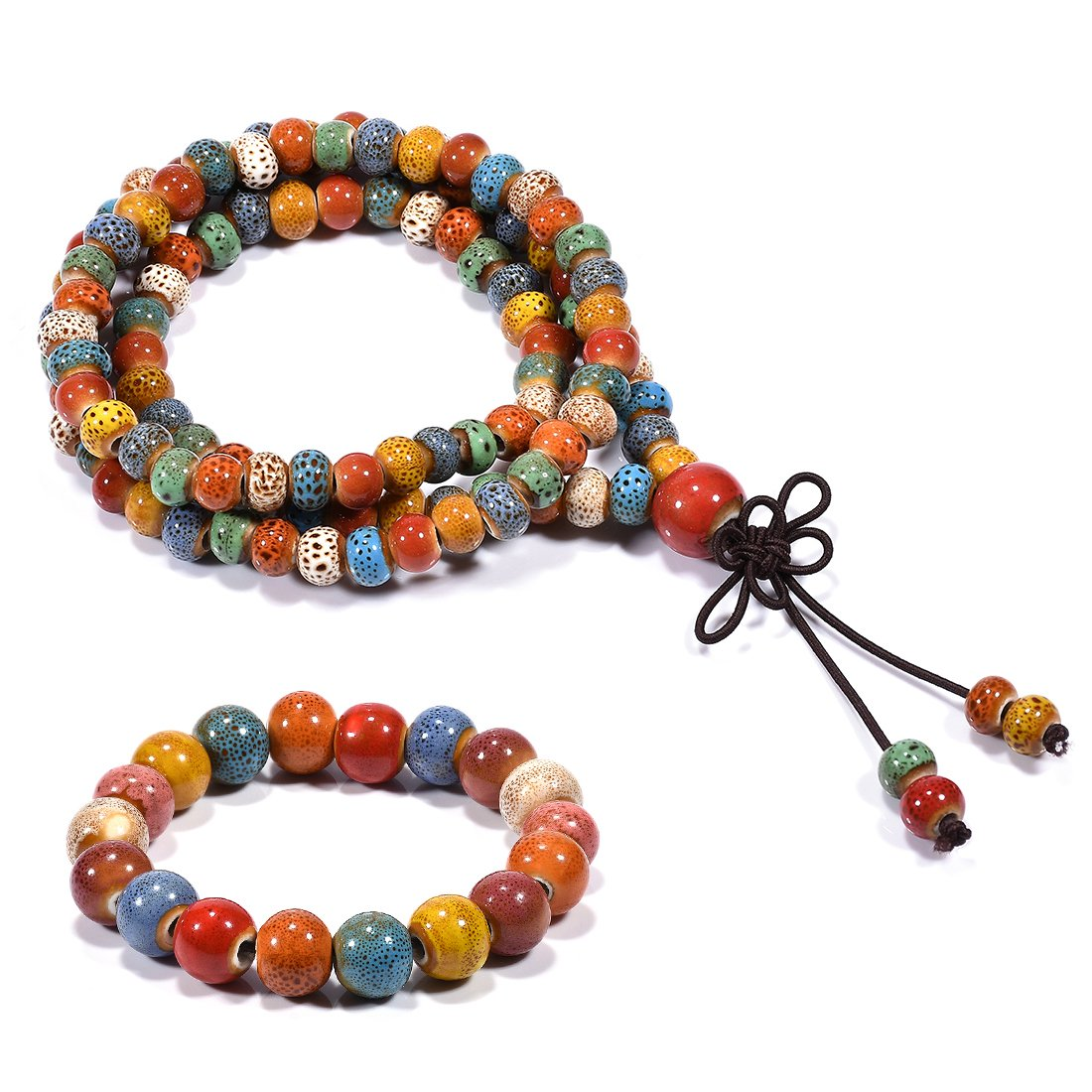 CAT EYE JEWELS 108 Porcelain Mala Beads Buddhist Tibetan Prayer Beads Meditation Necklace Bracelet Bohemia