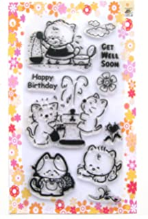 Kitten And Fountain Clear Stamps Pack 4x7 FLONZ