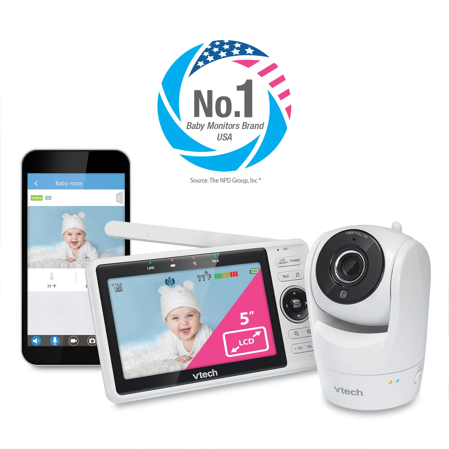 """VTech VM901 WiFi Video Baby Monitor with Free Live Remote Access, 1080p Full HD Camera, 5"""" Screen, Pan Tilt Zoom, HD Night Vision, 2-Way Audio Talk"""