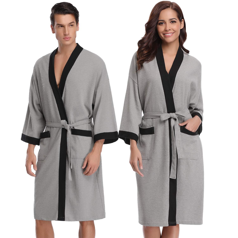 3e2429859e9dd Aibrou Femme Homme Kimono Tissage Gaufré Peignoir de Bain Unisexe Coton  Waffle Robe de Chambre col V Pyjama pour lhôtel Spa Sauna Vêtements de Nuit