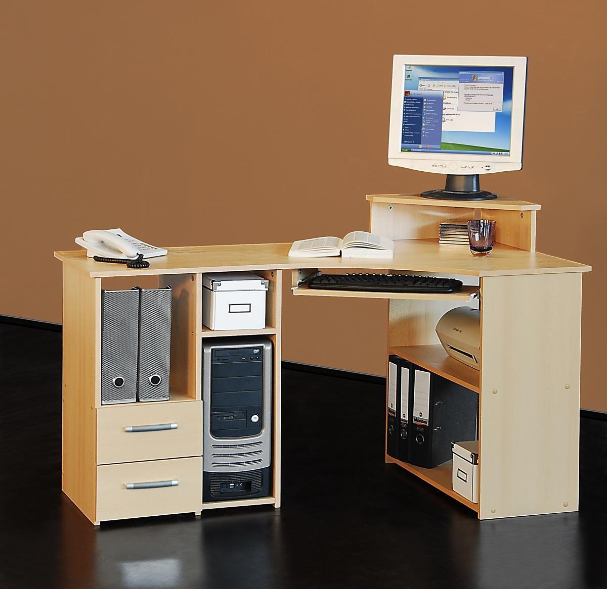 Eck computertisch  4505- 137cm - Eck-Schreibtisch - Computertisch, in buche: Amazon ...