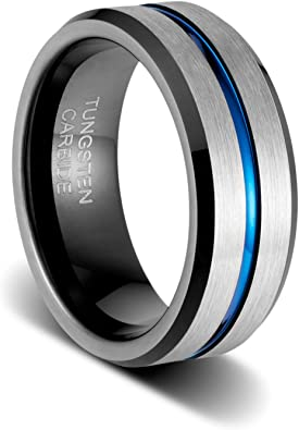 TUSEN JEWELRY 8mm Mens Wedding Band Thin Blue Groove Matte Brushed Tungsten Carbide Ring