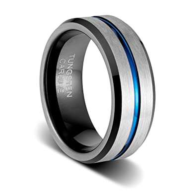 ad64e544d869b TUSEN JEWELRY 8mm Mens Wedding Band Silver Brushed with Blue Groove and  Black Inside Tungsten Ring Comfort Fit
