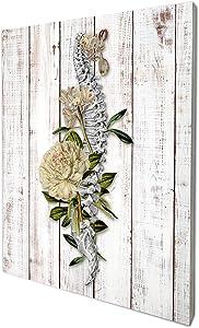 akeke Anatomy Spine Floral Vintage Rustic Farmhouse Wood Wall Art Decor, 8