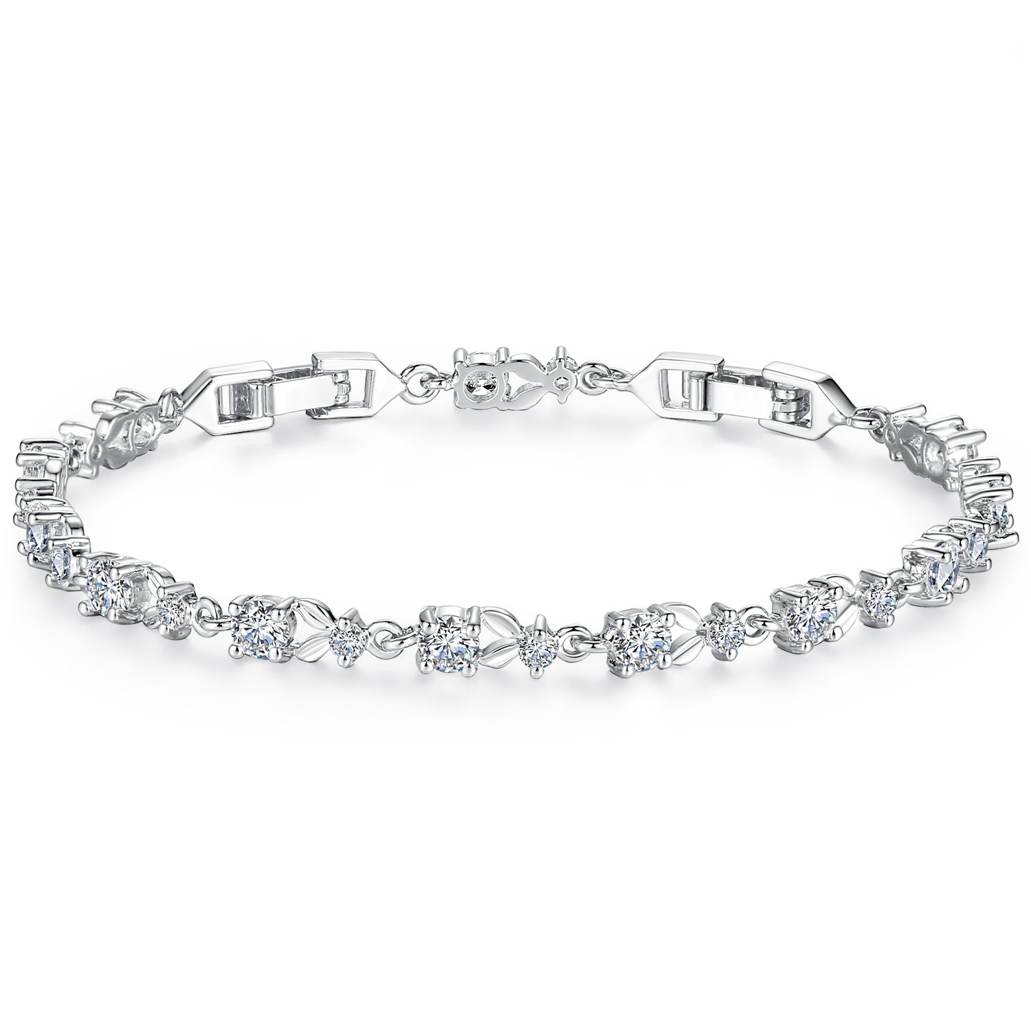 WOSTU Women Tennis Bracelets Luxury White Gold Plated Bracelet with Sparkling Cubic Zirconia for her B003-BU+BA01