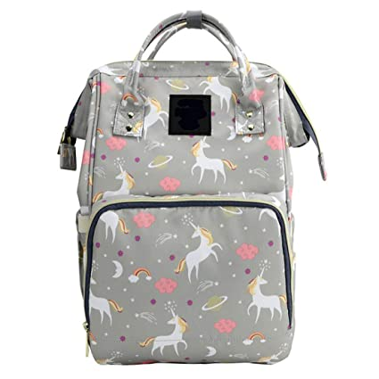 7fd44cc57af WISHKEY Premium Large Capacity Multi Functional Waterproof Fashionable  Unicorn Design Stylish & Durable Maternity Grey Diaper Bag Bagpack for  Mothers ...