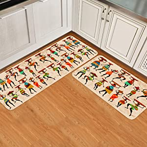 SUN-Shine Kitchen Rug Sets 2 Piece Non-Slip Kitchen Mats and Rugs African Tribes Black Women Decorative Area Runner Rubber Backing Carpets Floor Doormat