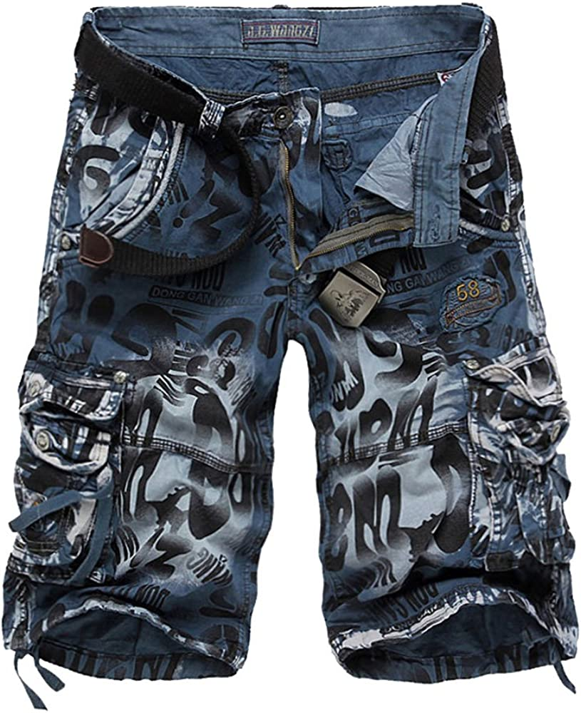 LINGMIN Mens Causal Camoflage Cargo Shorts Multi Pocket Cotton Athletic Sports Wear