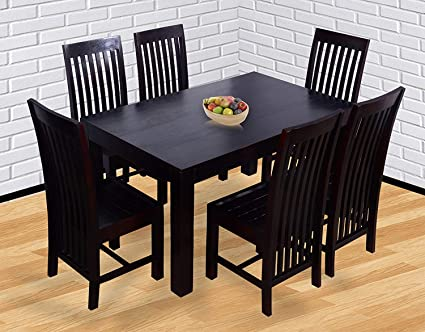 Shyam Wooden Décor Six Seater Solid Wood Dining Table Mahogany Finish Amazon In Home Kitchen