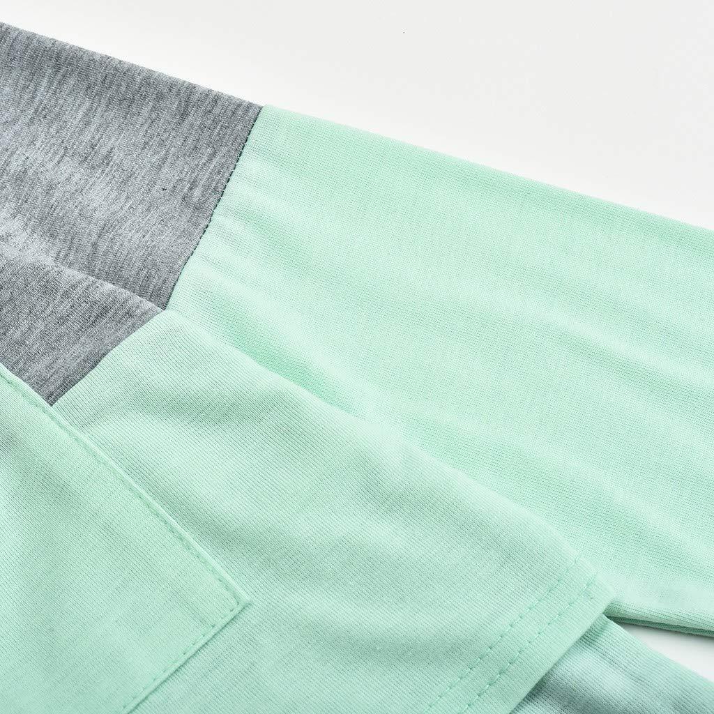 Likecrazy Umstandshirt Damen Umstandsmode Stillshirt Casual Rundhals Streifen Langarm-T-Shirt Stilltop Frauen Mode Umstandsbluse zum Stillen S-XXL