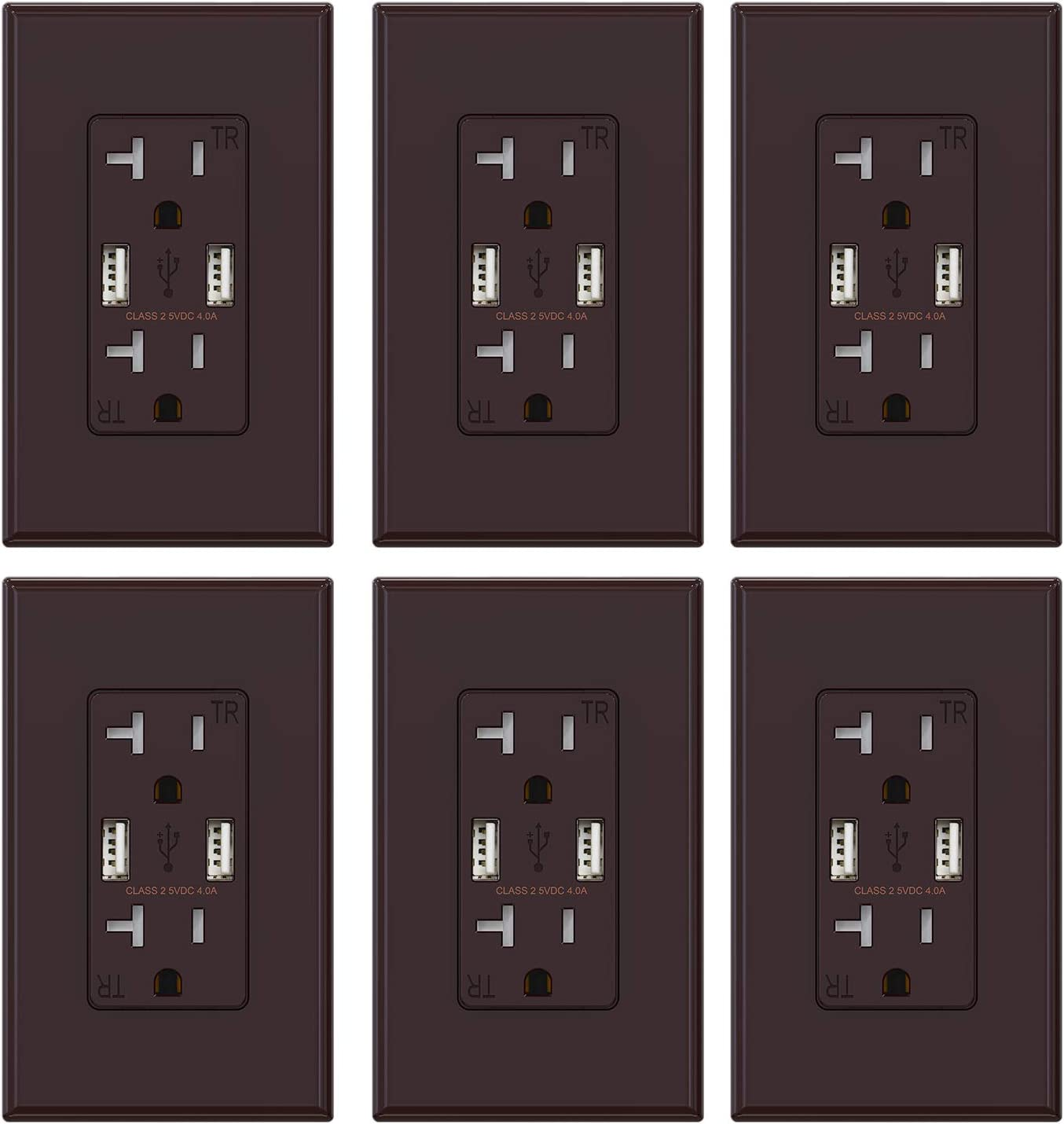 (6 Pack, Glossy Brown) ELEGRP USB Outlet Wall Charger, Dual High Speed 4.0 Amp USB Ports with Smart Chip, 20 Amp Duplex Tamper Resistant Receptacle Plug NEMA 5-20R, Wall Plate Included, UL Listed
