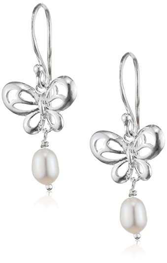Elements Silver Ladie's White Pearl Sterling Silver Drop Earrings iIBck