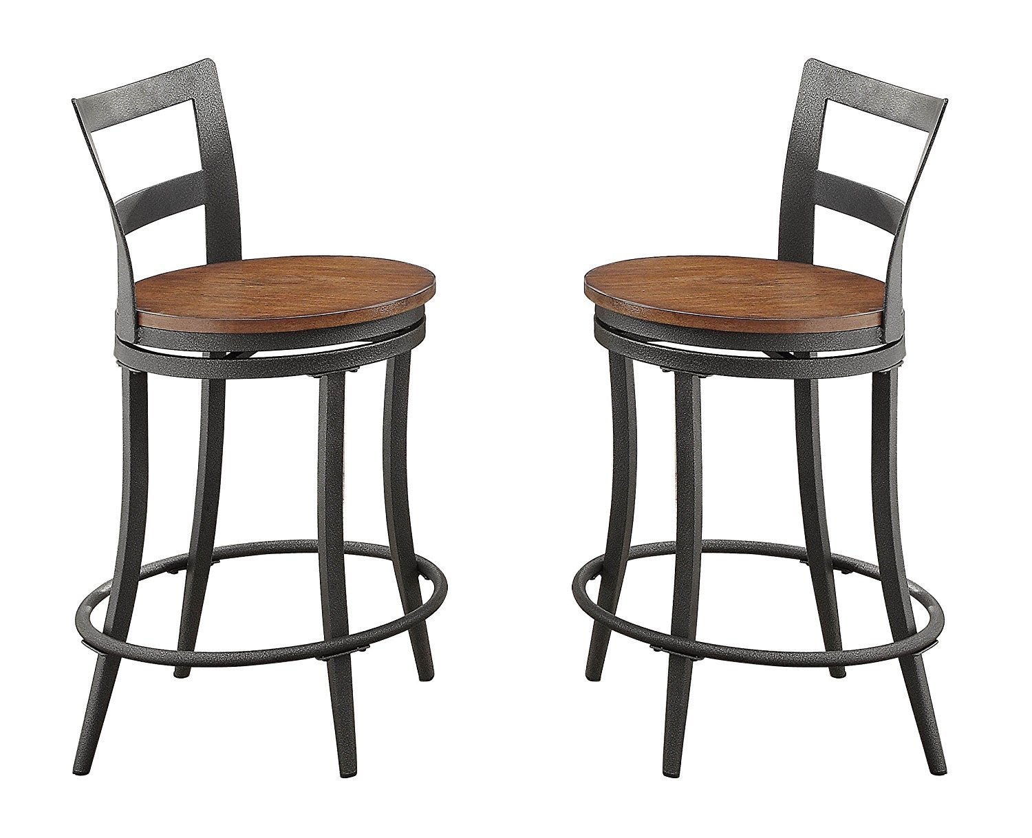 Gray and Brown Benzara BM176406 Wooden Swivel Bar Chair with Foot Rest Set of Two