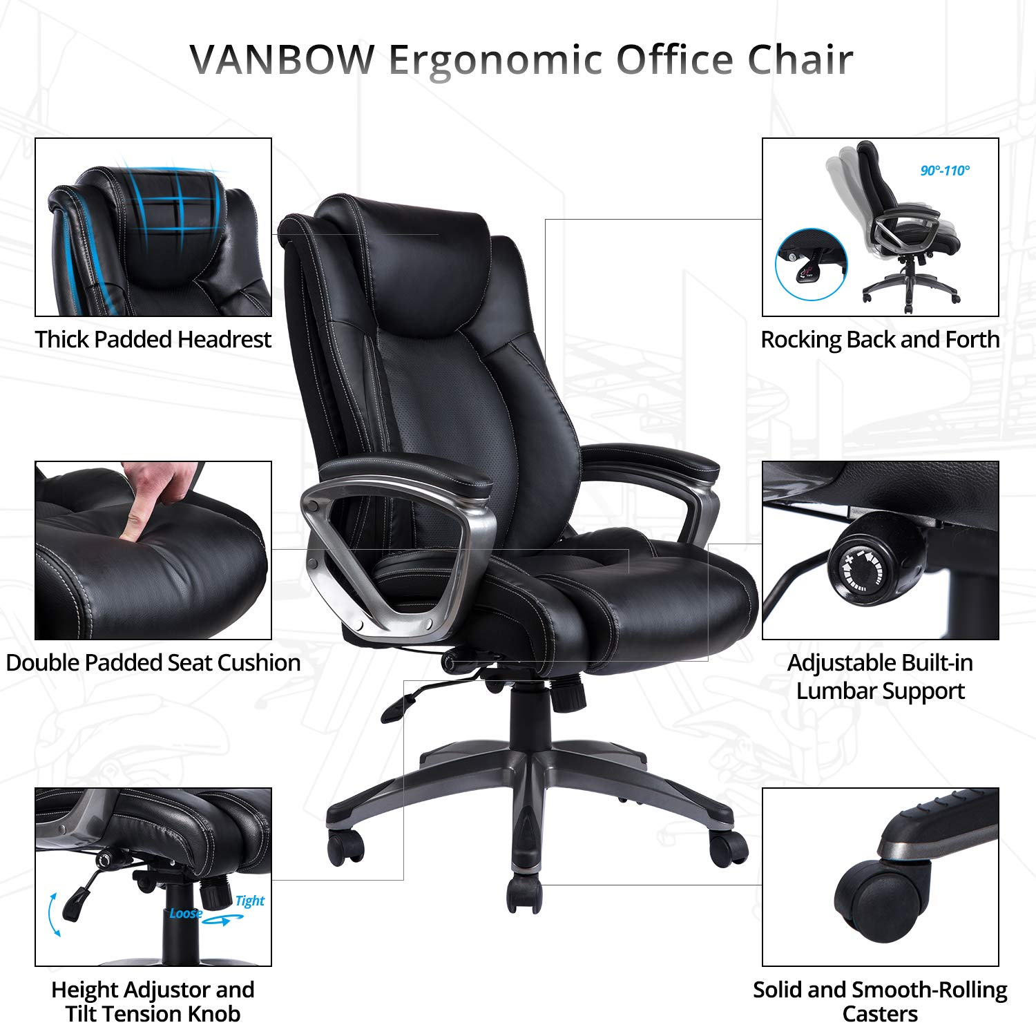 VANBOW Leather Memory Foam Office Chair - Adjustable Lumbar Support Knob and Tilt Angle High Back Executive Computer Desk Chair, Thick Padding for Comfort Ergonomic Design for Lumbar Support, Black by VANBOW (Image #2)