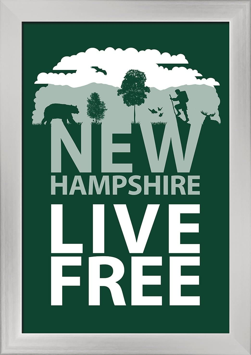 12x18 Giclee Art Print, Gallery Framed, White Wood New Hampshire Silhouette