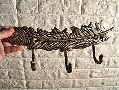Single Rustic Vintage-Style Brown Feather School Coat Hook Cast Iron Wall Mount