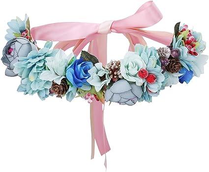 AWAYTR mujeres ni/ñas Boho flor corona diadema floral corona guirnalda Azul