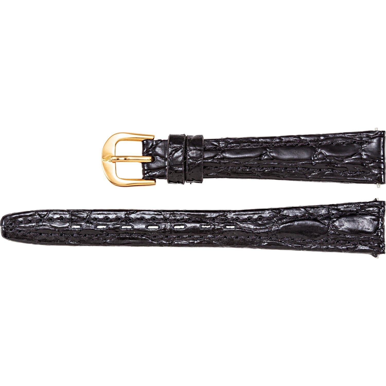レディース用RegularレザーCrocodile Grain semi-padded腕時計ストラップ 12mm ブラック  ブラック 12mm B074LY5JCL