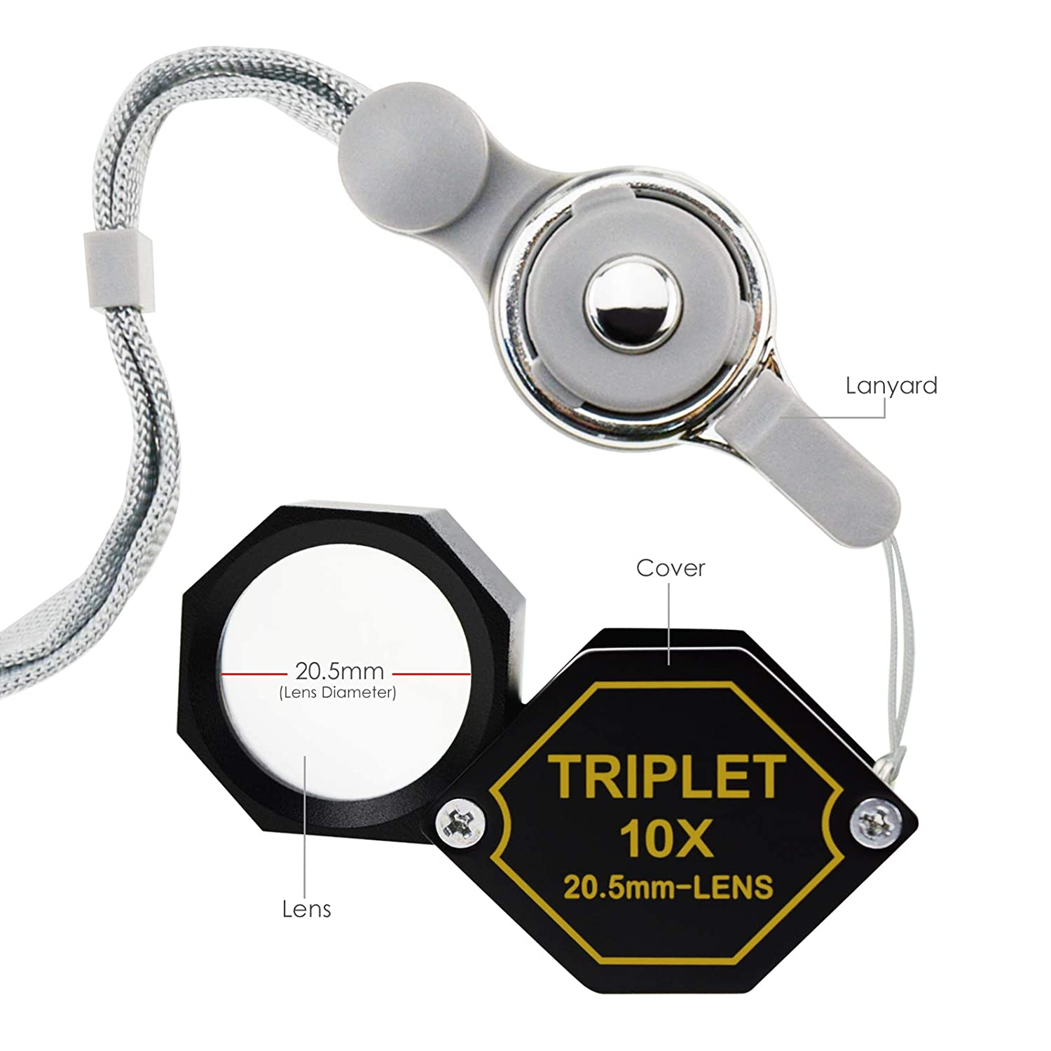 Aluminum Body Hexagonal Design Kit Set Magnification Loupe Black Frame 15x Jewelry Loupe Magnifier 20.5mm Triplet Lens Achromatic Optical Glass Magnifying Tool Metal