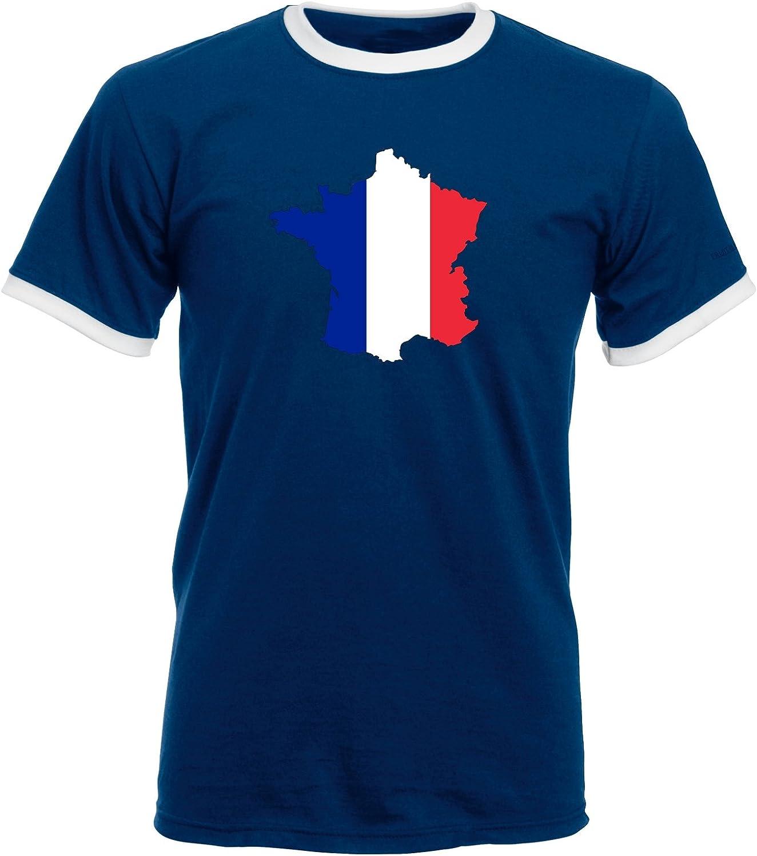 123t Nation COUNTRY patrones de costura para camisas Unisex Francia diseño de la bandera de parte frontal y trasera de LOGO de entalle amplio y de dos tonos para de manga corta