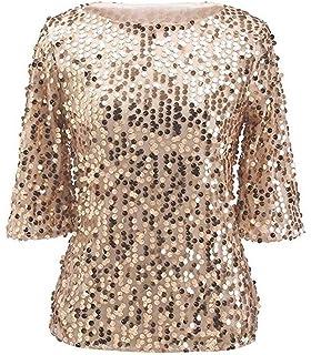 b25ed5874da ZG DD Womens Shimmer Glam Glitter Sequin Embellished Sparkle Blouse Top  Shirt