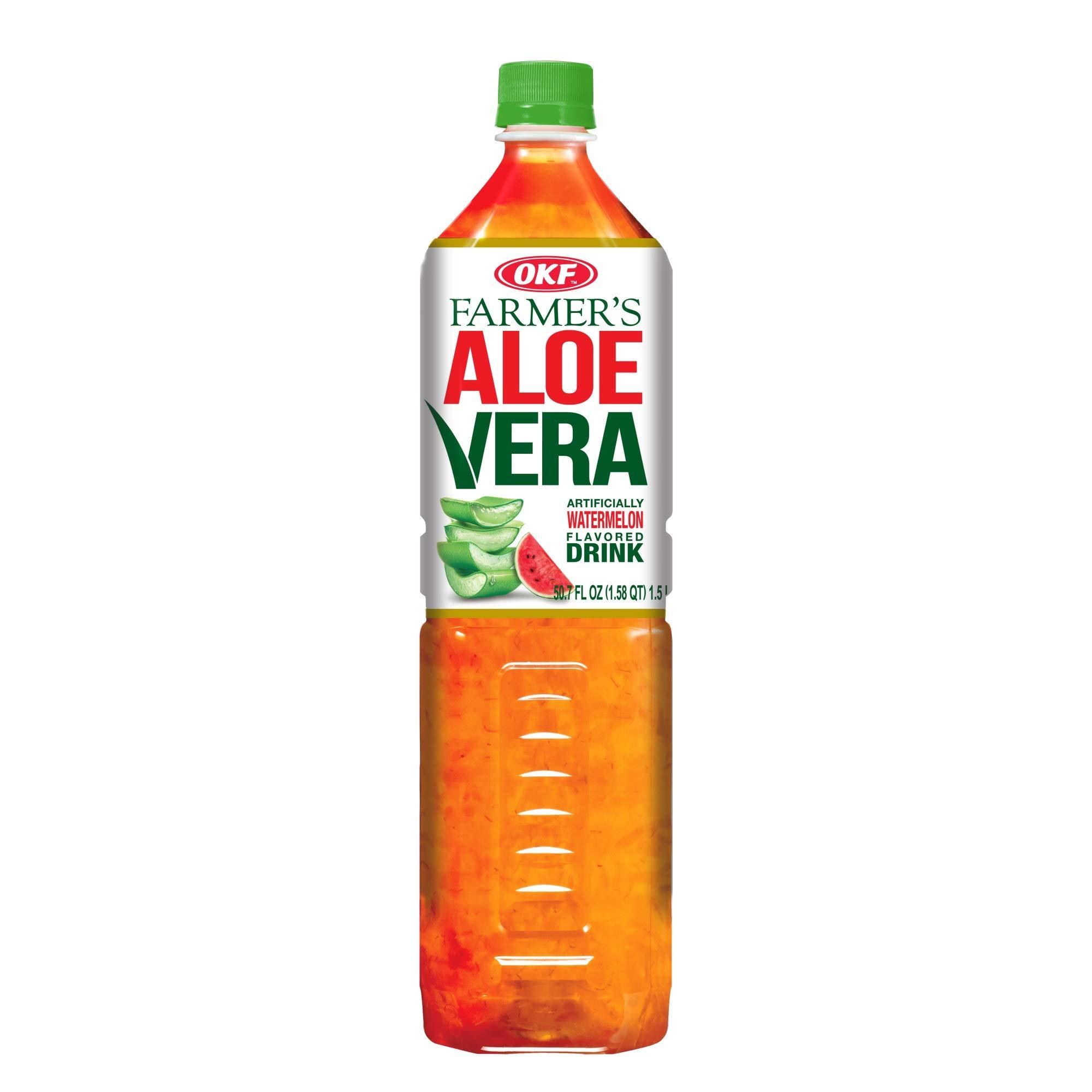 OKF Farmer's Aloe Vera Drink, Watermelon, 1.5 Liter (Pack of 12)