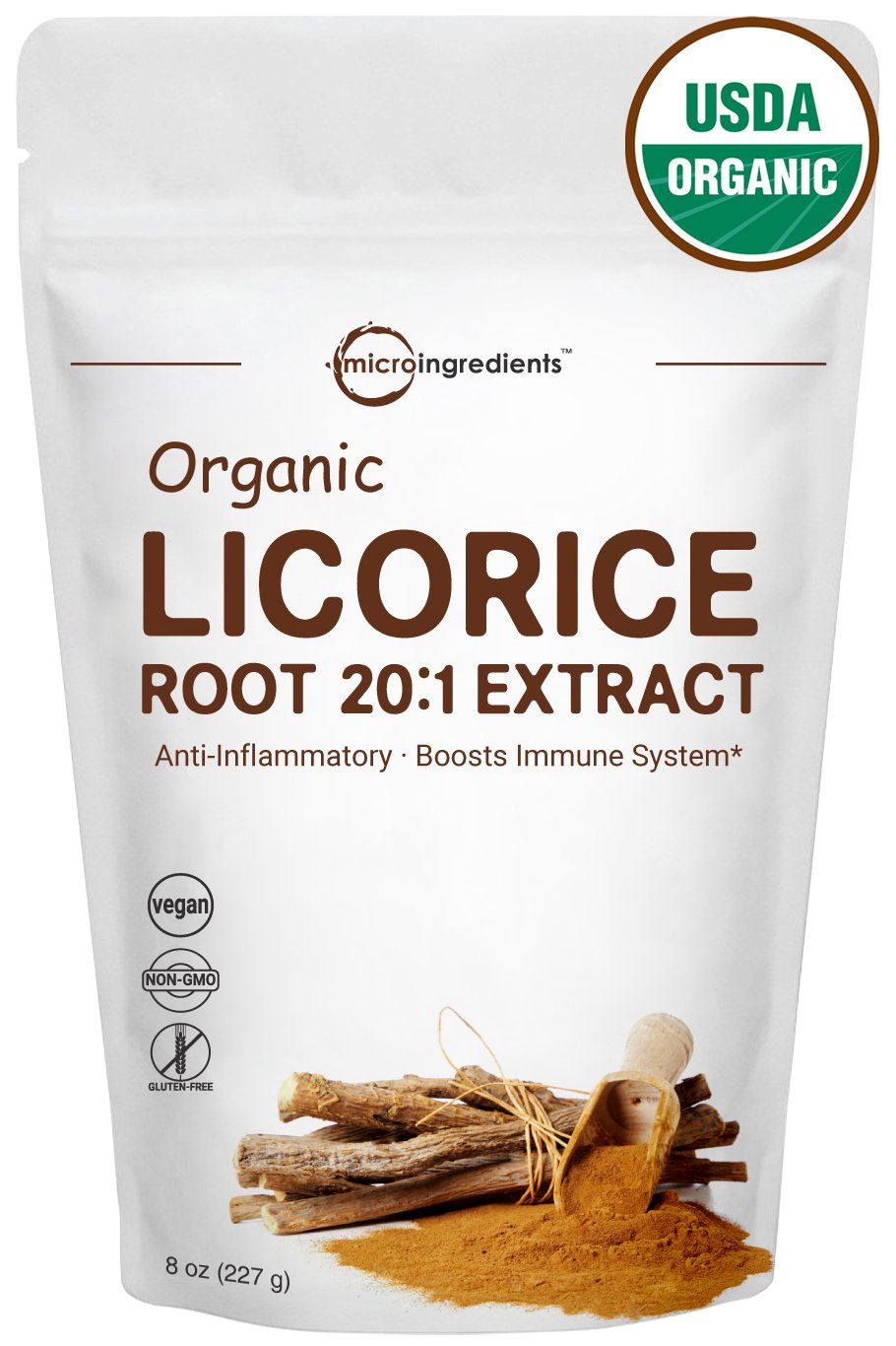 Organic Licorice Root 20:1 Powder, 8 Ounce, Positively Helps Soothe Cough, Sore Throat & Clear & Comfortable Breathing, Non-GMO and Vegan Friendly