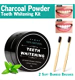 Activated Charcoal Teeth Whitening Powder Kit with 2 Bamboo Toothbrushes