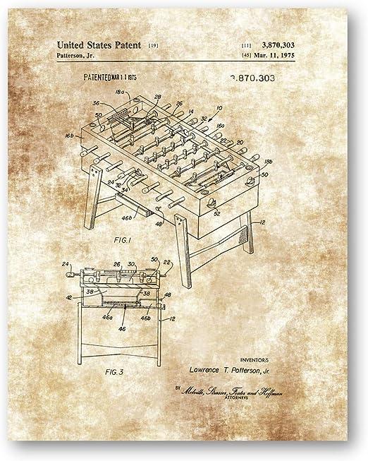 Juego de futbolín dibujo de mesa – 11 x 14 sin marco Patent Print ...