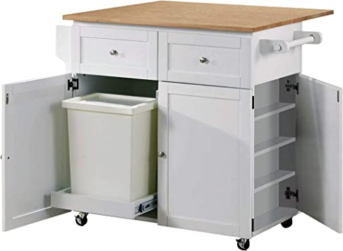 Amazon Com Kitchen Cart With Leaf Trash Compartment And Spice Rack Natural Brown And White Kitchen Islands Carts