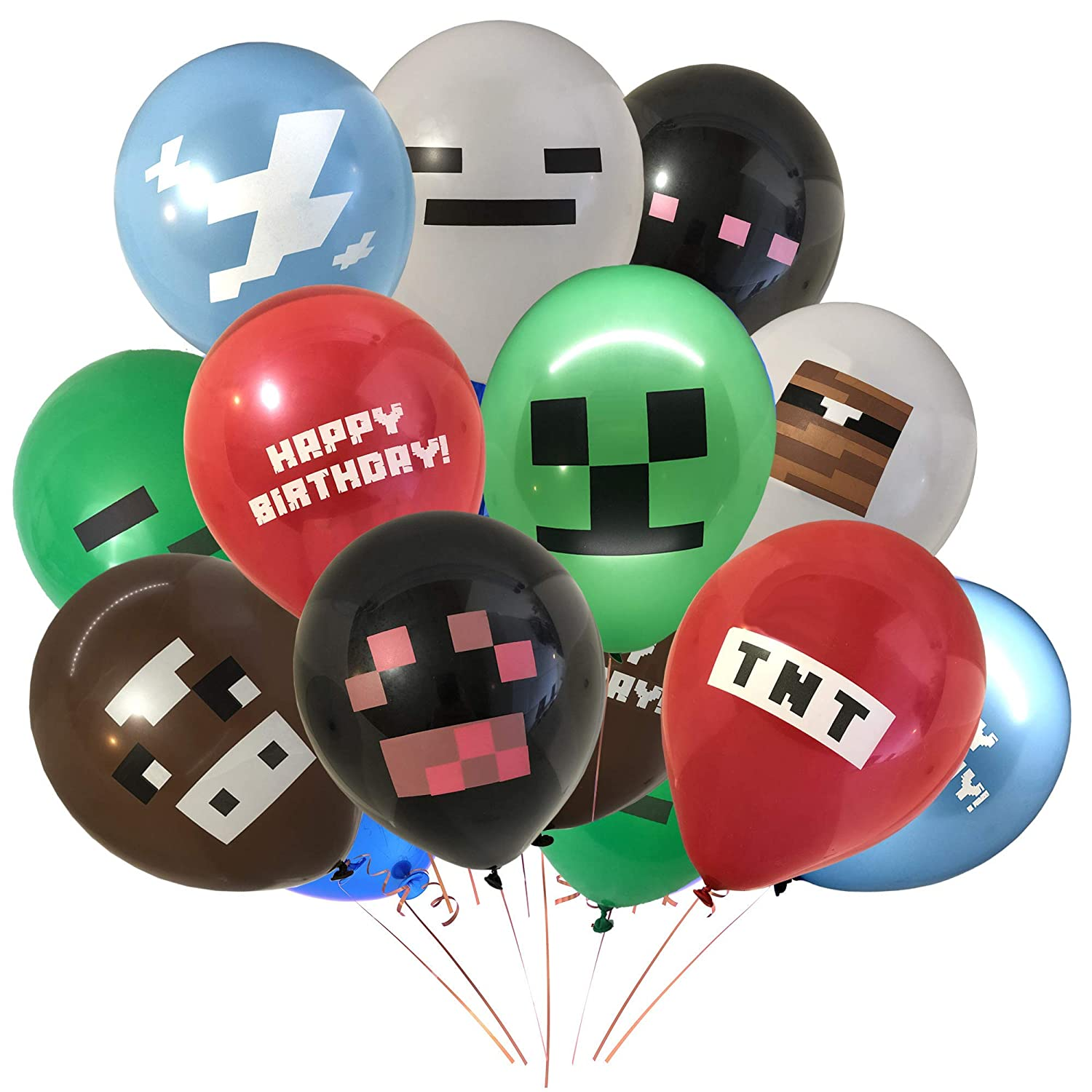 Giant 24 Pack of Pixel Miner Crafting Style Gamer Party Balloons - Large 12' Latex Balloon - Gamer Birthday Party Supplies - TNT, Cow, Ghost, Cloud, Creepah, Spider Party Decorations