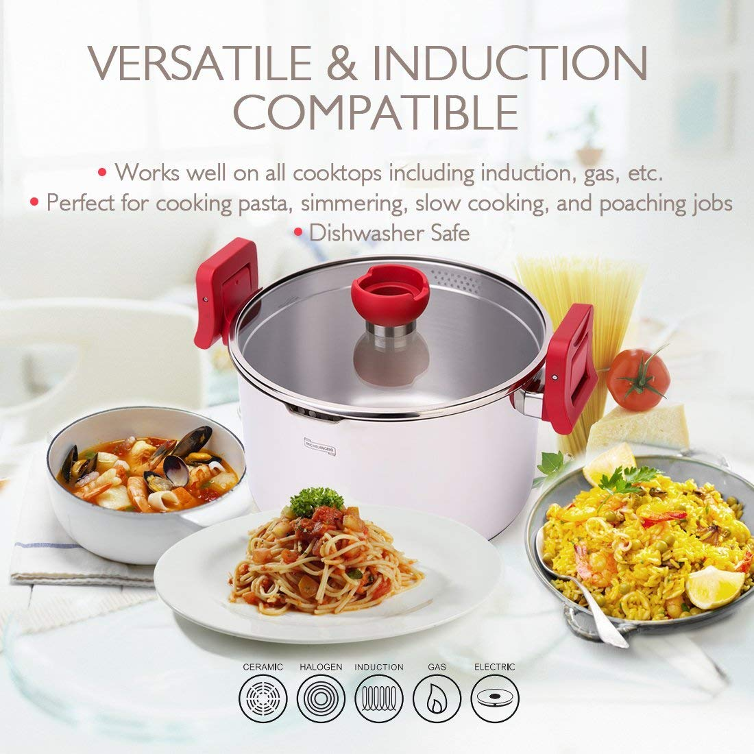 MICHELANGELO 5 Quart Pasta Pot Induction Ready, Stainless Steel Pasta Pot With Strainer Lid, Stainless Steel Dutch Oven Pot, 5 Quart Soup Pots with Lids by MICHELANGELO (Image #2)