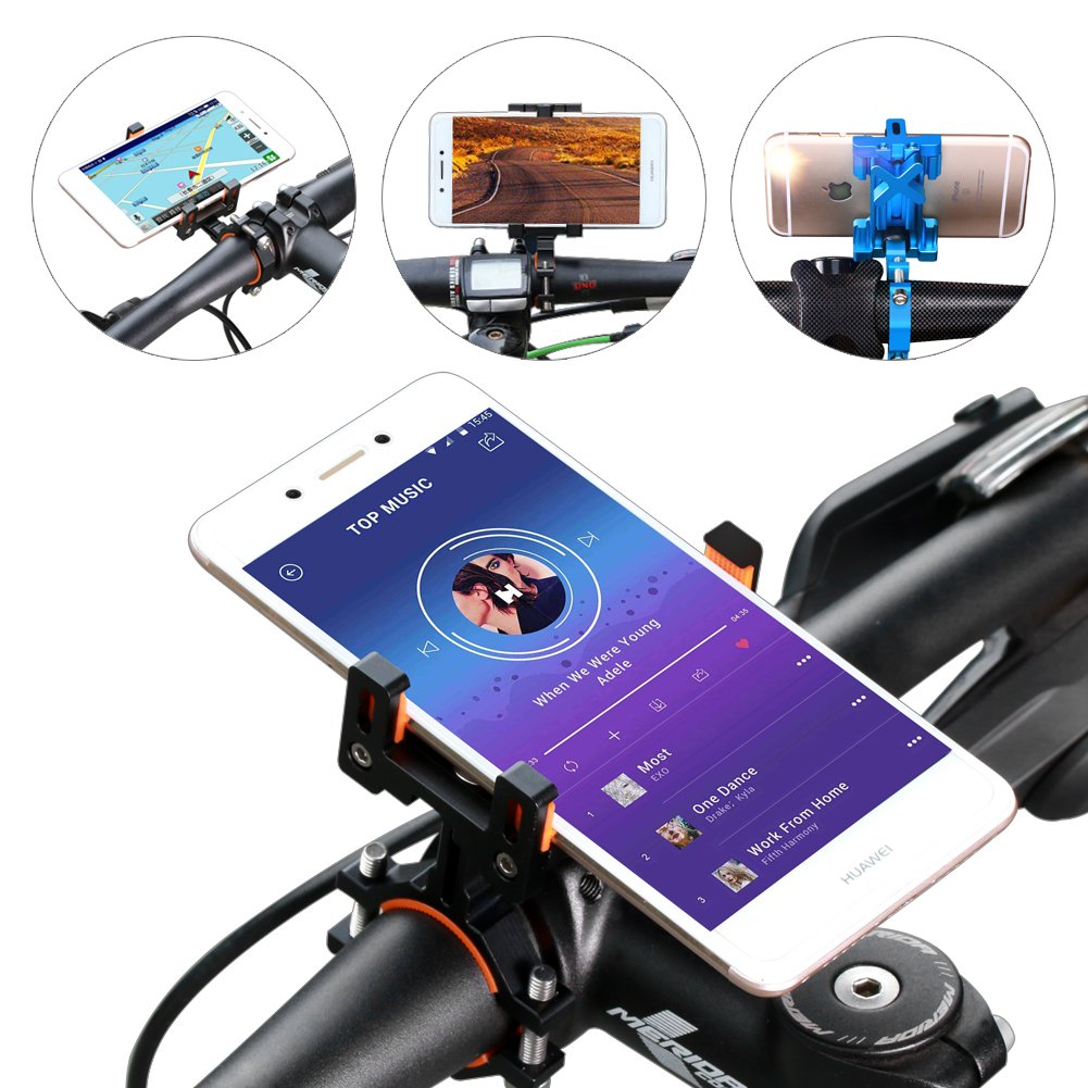 SpoLite Chrome Bike Phone Mount for Motorcycle-Bike-Bicycle Handlebars,Adjustable,Bike Phone Holder Fits Cell Phone iPhone X,8|8 Plus,7|7 Plus,6s|6s Plus,Galaxy S7,S6 For Cycling. (BM04 Black) by SpoLite (Image #6)