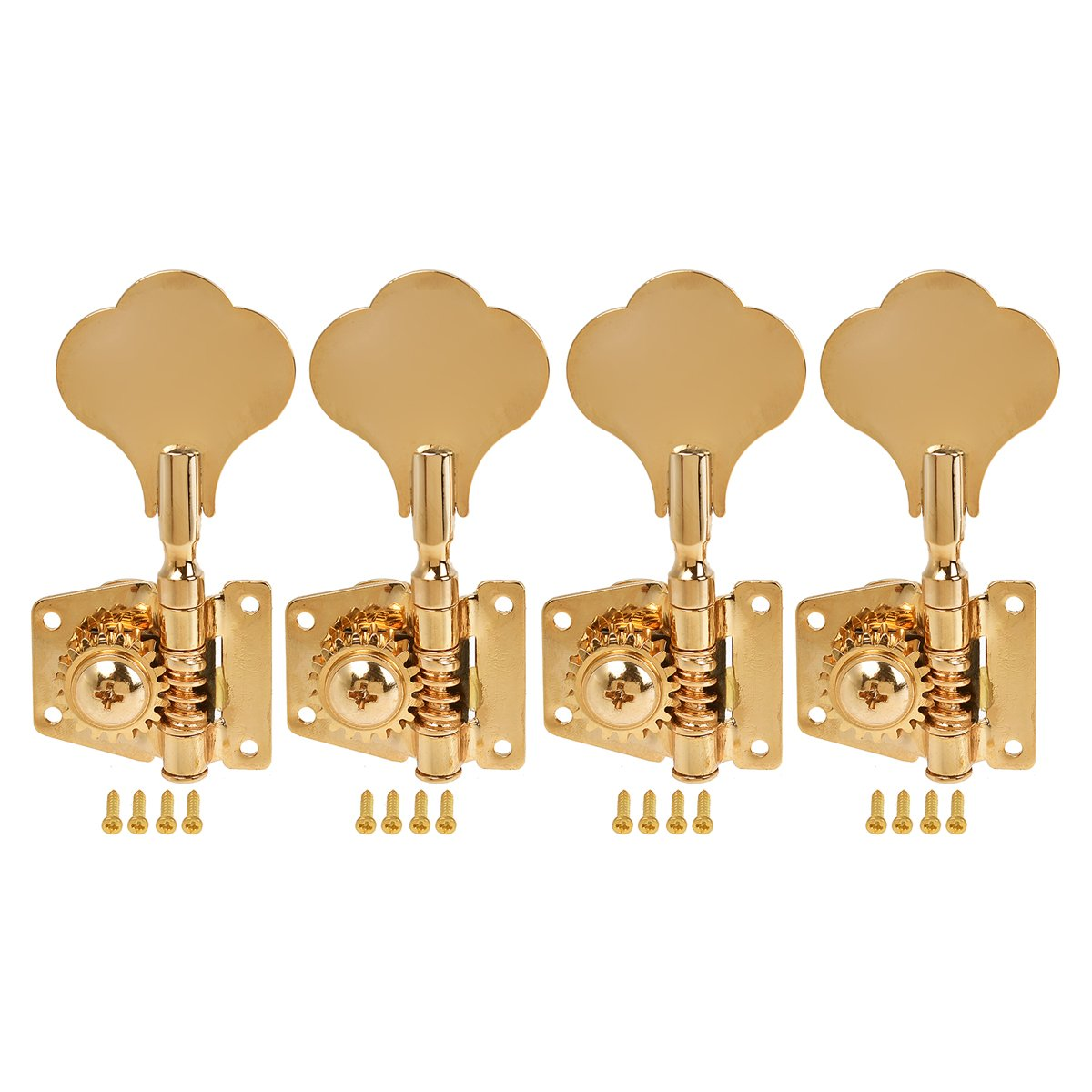 Kmise 5 String Bass Electric Guitar Tuners Tuning Pegs Keys Machine Heads Open Gear 4R1L Gold 1 Set (MI1512)