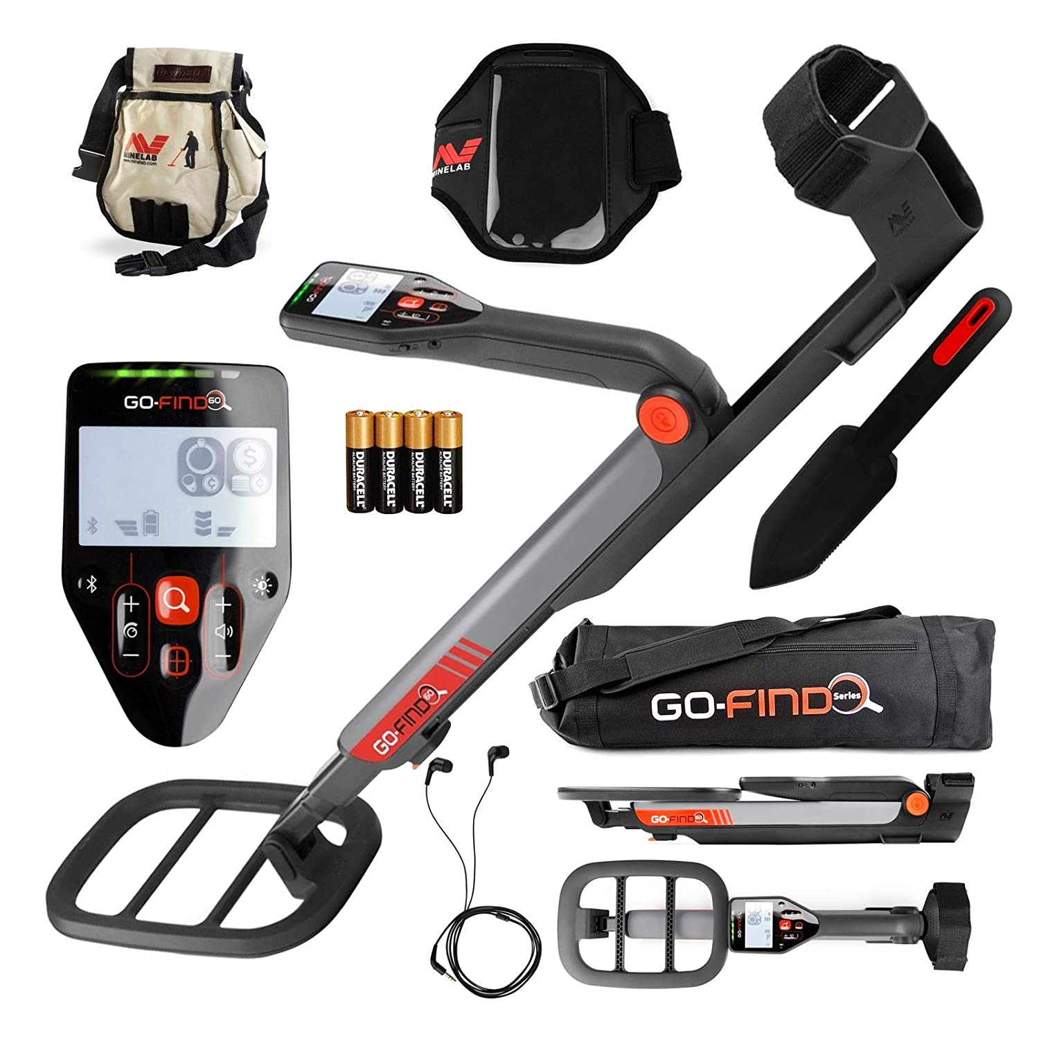 Amazon.com : Minelab GO-FIND 60 Detector with Carry Bag, FindsPouch, Trowel, Smart Phone Holder and Earbuds : Garden & Outdoor