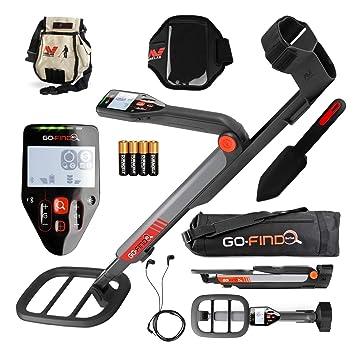 MINELAB Go-find 60 - Detector con bolsa de transporte, paleta, bolsa de artículos encontrados, soporte para móvil y auriculares: Amazon.es: Jardín